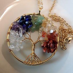 Jewelry - NEW  14K plated Chakra Family Tree of Life